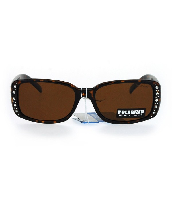 Polarized Rhinestone Rectangular Designer Sunglasses