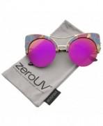 zeroUV Semi Rimless Sunglasses Blue Orange Floral Magenta