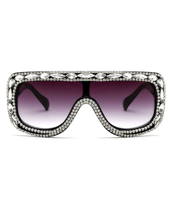 Slocyclub Rectangular Oversized Sunglasses Rhinestone