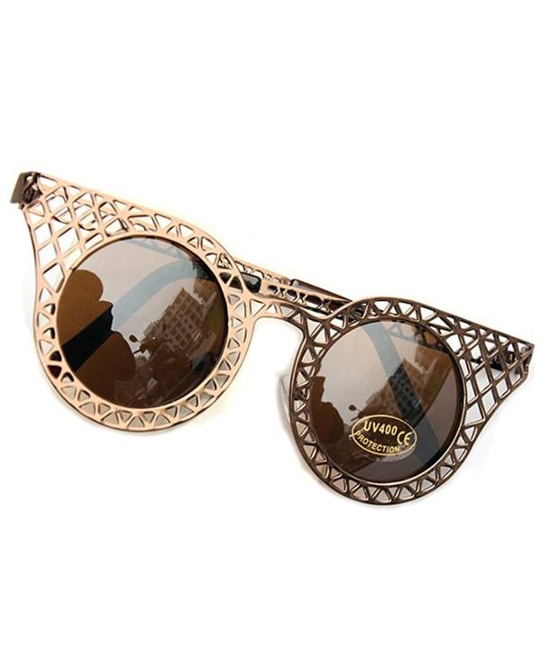 SUNROLAN Rim Round Oversized Sunglasses fhC41Brown