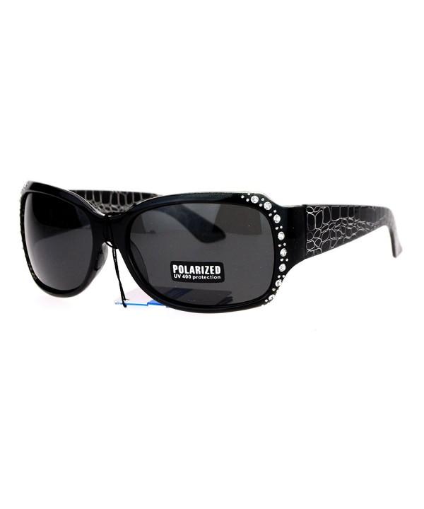 Polarized Rhinestone Rectangular Butterfly Sunglasses