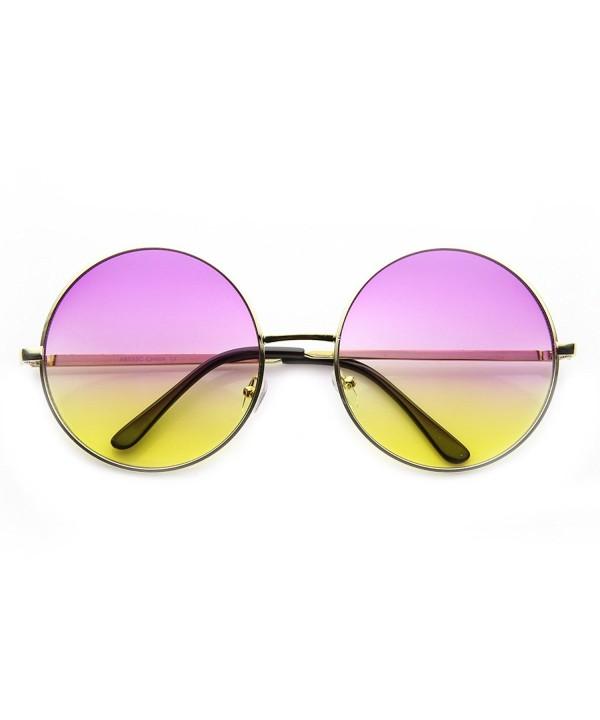 zeroUV Oversized Two Toned Sunglasses Purple Yellow
