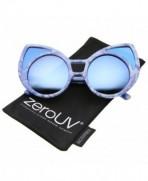 zeroUV Oversize Colored Sunglasses Blue White