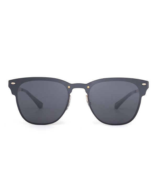 Rimless Wayfarer Sunglasses Horned Mirrored