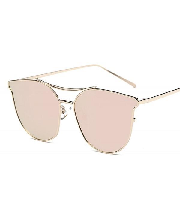 OLEWELL Polarized Sunglasses Mirrored Metal Frame Flat Lenses Pink