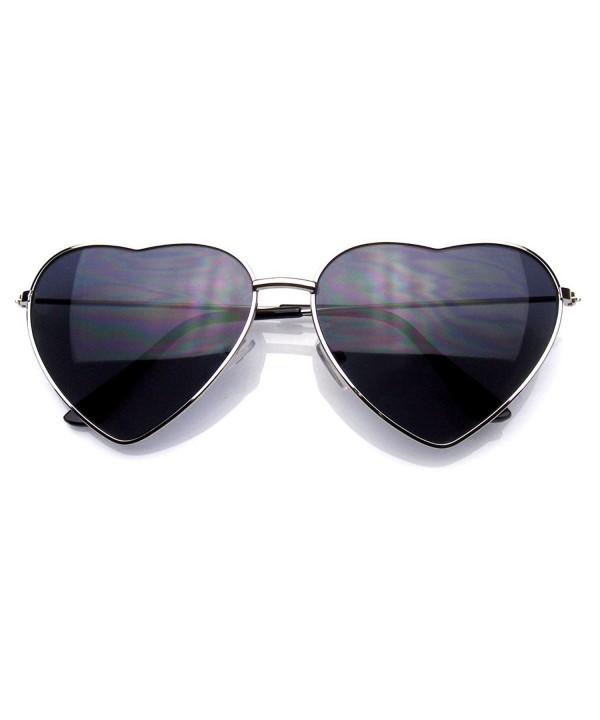 Womens Heart Mirror Sunglasses Silver